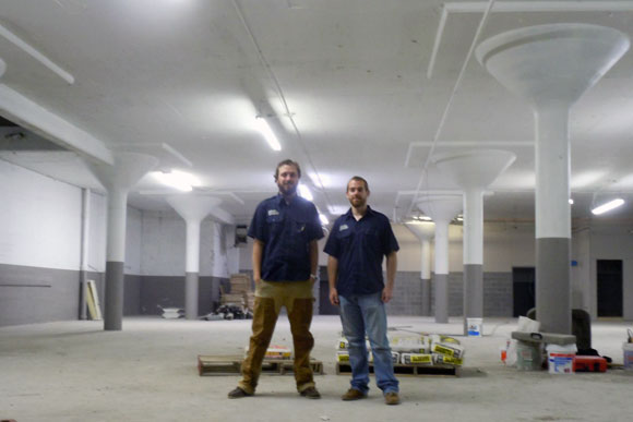 Atlas Brew Works cofounders Will Durgin (left) and Justin Cox (right) in their Ivy City warehouse