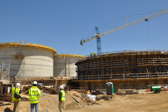The digester tanks being built