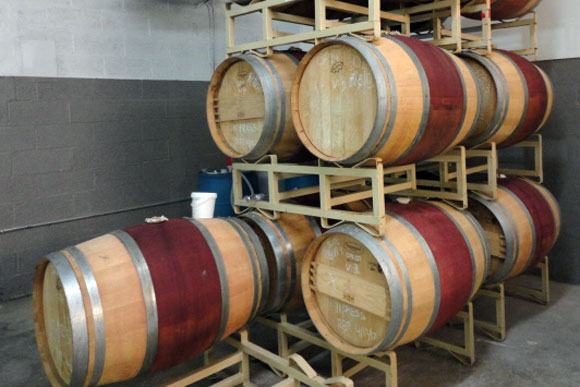Wine barrels from Boxwood Winery, to be used in making sour beers