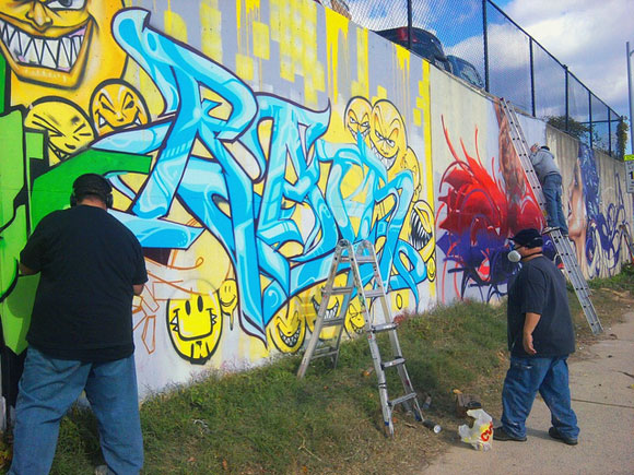 "New Jersey artists DEMER and RAIN paint a D.C. wall in a ""cultural exchange"" program"