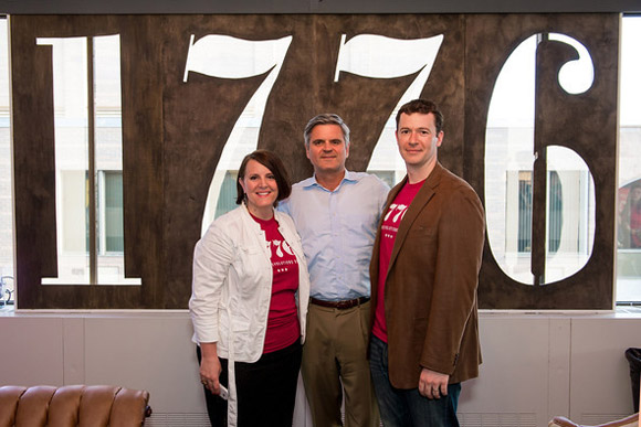 Donna Harris, Steve Case and Evan Burfield at the grand opening of 1776 DC, a tech center whose central location will provide density and 'the serendipity of a meeting or connection'