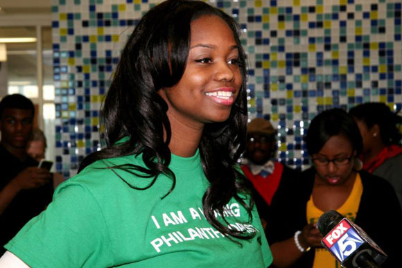 Kezia Williams, Capital Cause co-founder, being interviewed at a early 2013 Capital Cause event