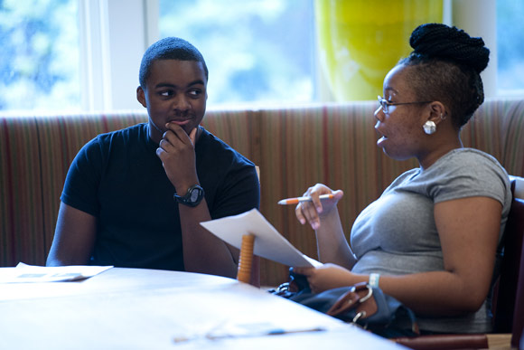 Two students work on interviewing each other for Urban Alliance's Public Speaking Challenge