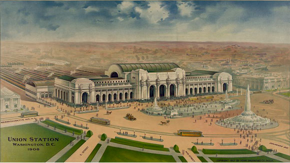 Print showing Union Station in 1906, a year before it officially opened