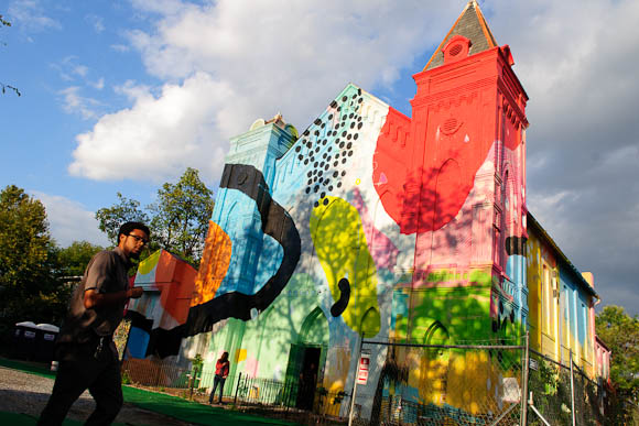A former church has been converted to BLIND WHINO, an arts space decorated with an enormous mural. This month it has been host to the G40 Arts Summit, a month-long festival of visual and performing art