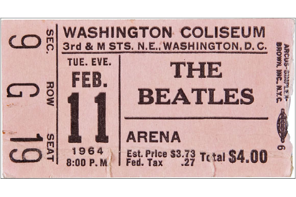 1964: The Beatles play the arena just two days after their appearance on The Ed Sullivan Show. This ticket sold by Heritage Auctions in 2011 for $1500