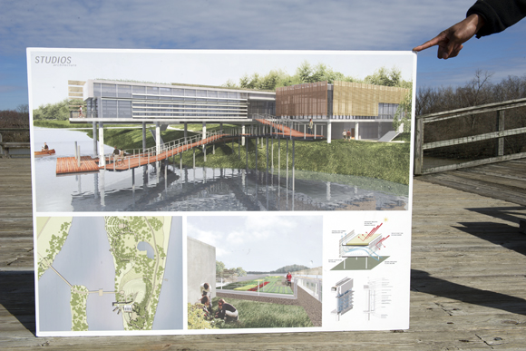 Mutschler brings the eight-year-old nature center renderings with him when he meets with stakeholders, just in case
