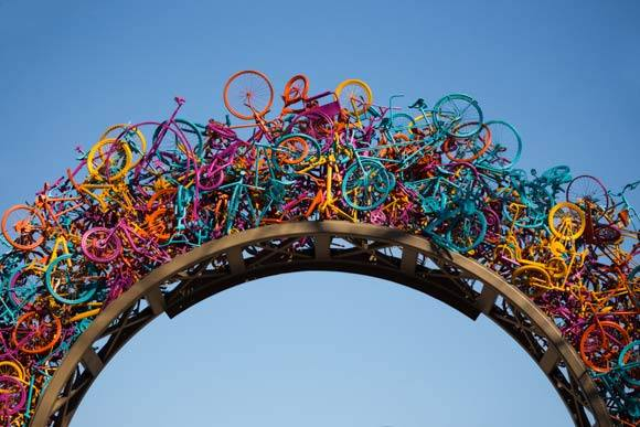 """Bike Arch,"" a sculpture in downtown Memphis"