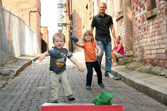 Playing a game in Five Points Alley in Cincinnati