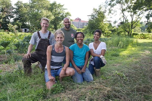 Being a farmer in the city isn't easy, but these folks are making a go at it. From left: Kristof Grina, Up Top Acres; Meredith Sheperd, Love & Carrots; AJ Cooper, Freedom Farms; Gail Taylor, Three Part Harmony Farm; and Ryan Palmer, Freedom Farms