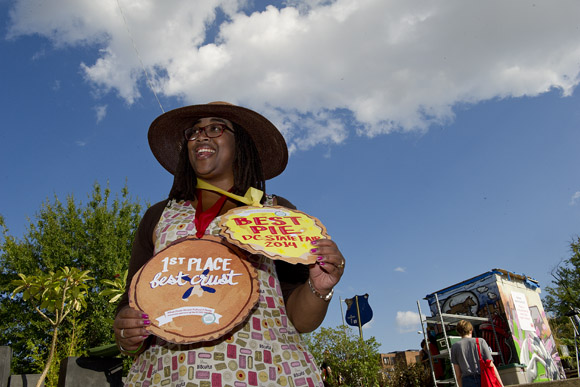 """I don't think anything can beat wearing a giant pie around your neck,"" said Shana McDavis-Conway, who won first place for the best sweet pie (a fall berry pie) at the DC State Fair"
