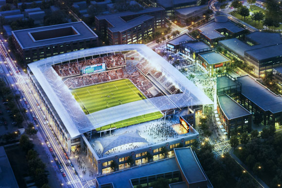 A rendering of the proposed DC United soccer stadium