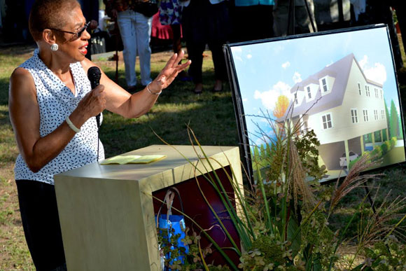 "Congresswoman Eleanor Holmes Norton speaks at a Mary's House ""birthday party"" and interfaith blessing. Mary's House for Older Adults is one of a handful of communities in the entire country specifically for LGBT seniors"