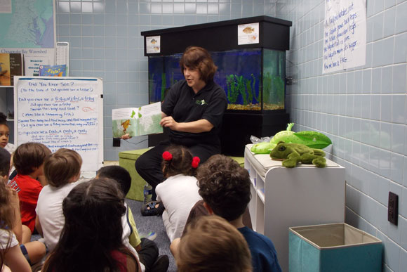 Storytime with kindergarteners at the Aquatic Resources Education Center, DC's free aquarium