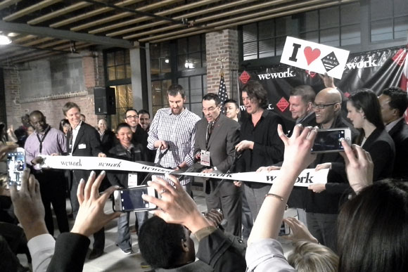 Mayor Vincent Gray cuts the ribbon at WeWork Wonderbread Factory after announcing the Digital District initiative