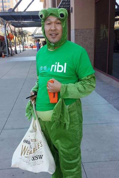 Ribl co-founder Mike Chan promoting ribl at SXSW