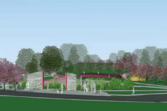One of the proposed designs for Chuck Brown Park; both feature a plaza, outdoor drums, and more