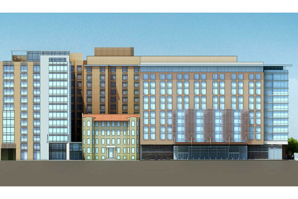 A preliminary elevation--seen from the south--of Columbia Place