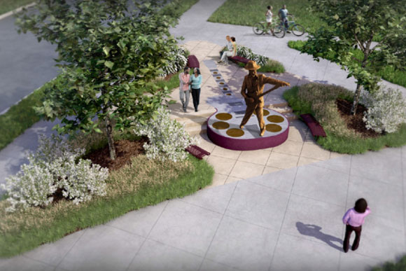 One of three proposed public art projects for Chuck Brown Park, by the Bergen, Stovall, Atkins and Walker team