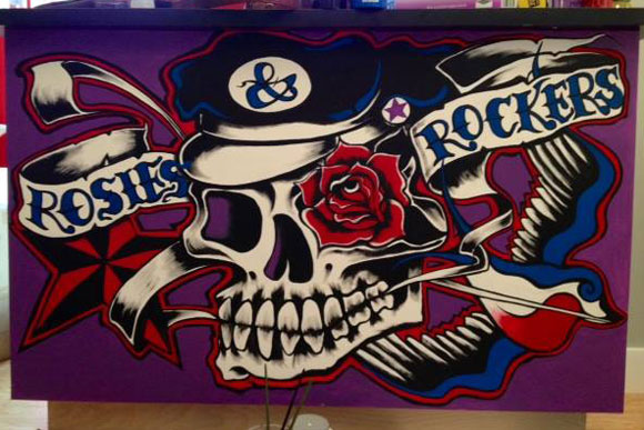 A mural inside Rosies and Rockers