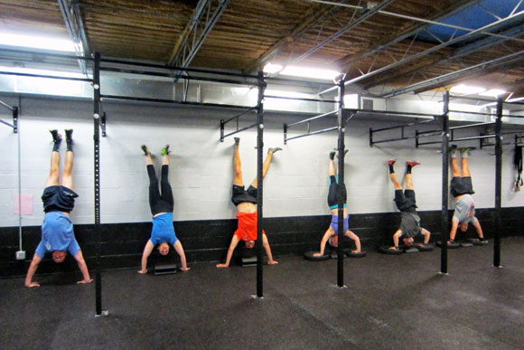 Handstands at CrossFit DC's 14th Street location