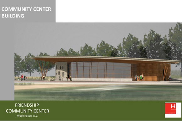A rendering of the proposed community center