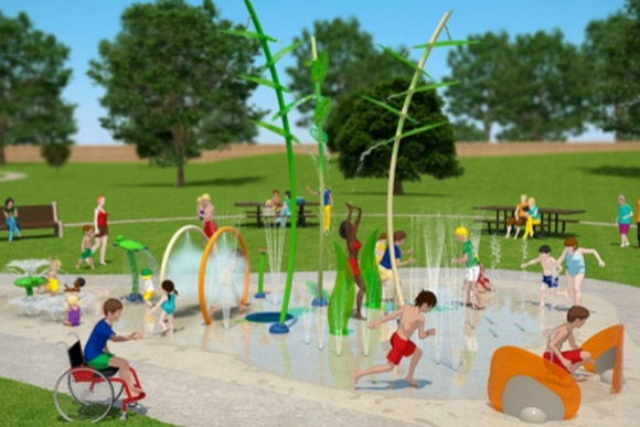 A rendering of the new spray park at Friendship
