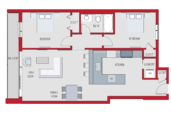 A sample floorplan for a two-bedroom unit