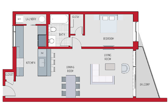 A sample floorplan for a one-bedroom unit