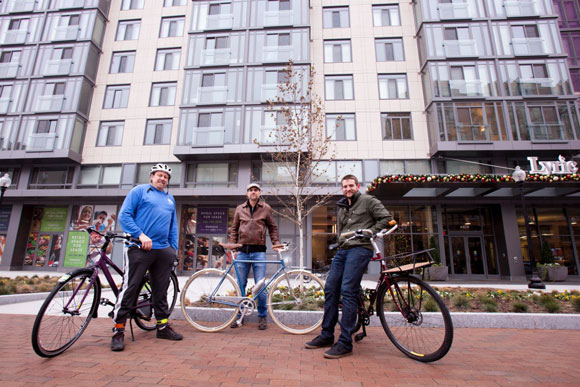 From left: BicycleSPACE co-founders Phil Koopman and Erik Kugler with GM David Dorn
