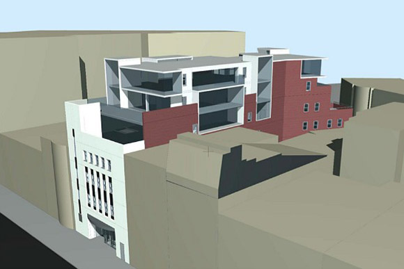 A 2014 rendering of the addition to rise above 1337 Connecticut Ave, now to become an extended stay micro-hotel