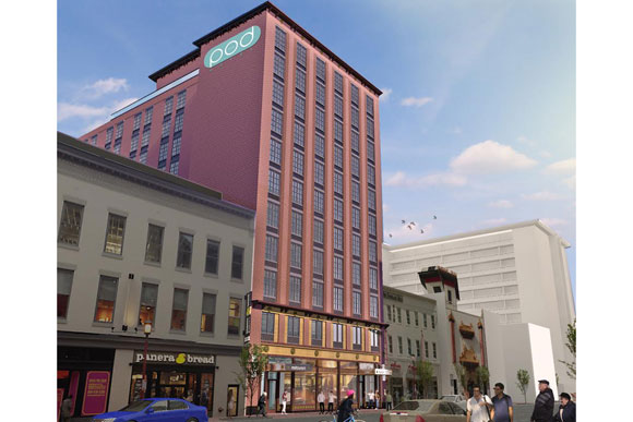 Rendering of the Pod Hotel at 627 H St NW