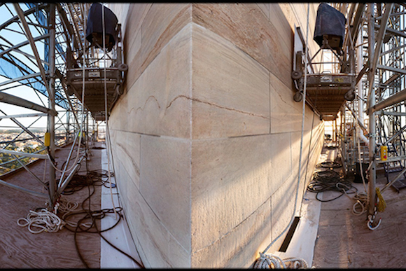 A 360 view of the scaffolding of the Washington Monument