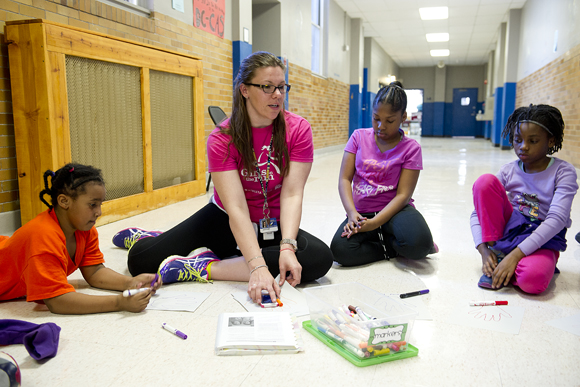 Girls at Friendship Woodridge Public Charter School in Northeast learn about positive self-image.